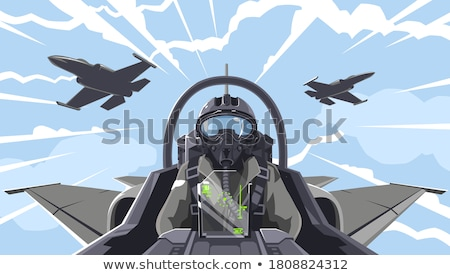 Militaire piloot vector cartoon illustratie afbeelding Stockfoto © UltraPop