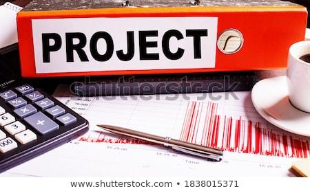 Rood · kantoor · map · opschrift · desktop - stockfoto © tashatuvango