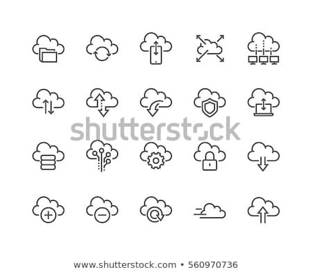 Beveiligde wolk toegang icon ontwerp grijs Stockfoto © WaD