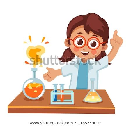 meisje · reageerbuis · studeren · chemie · school · onderwijs - stockfoto © ndjohnston