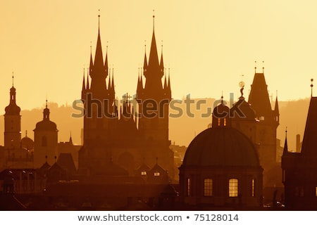 spires of the old town and tyn church at sunrise Stock photo © artjazz