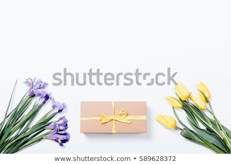 bouquet of tulips with irises top view stock photo © valeriy