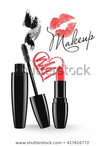 Lippenstift kus vlek sexy schoonheid kunst Stockfoto © doddis