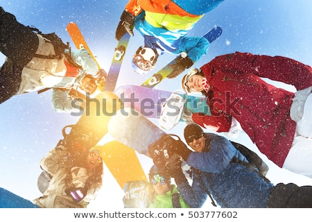 girl and man with snowboard Stock photo © adrenalina