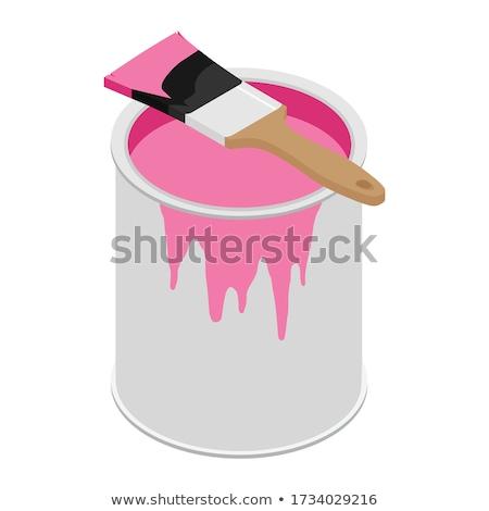 Kan roze verf illustratie witte kunst Stockfoto © bluering