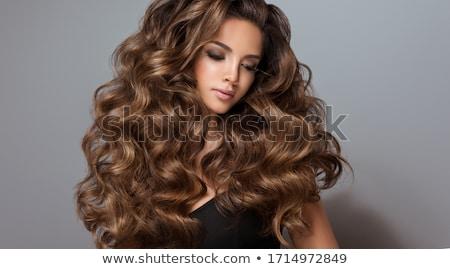 Piękna dziewczyna długo falisty błyszczący włosy brunetka Zdjęcia stock © Victoria_Andreas