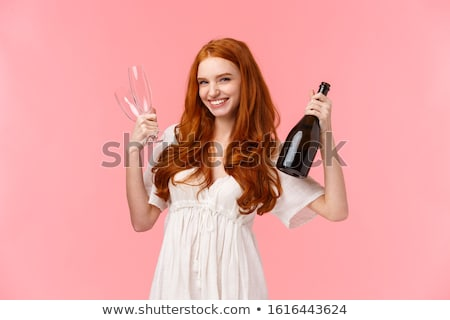 Iki gülen şişe şampanya Stok fotoğraf © deandrobot