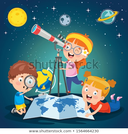 Children with telescope and world map Stock photo © bluering