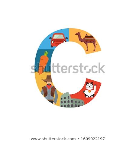 Litera c cowboy ilustracja człowiek dzieci dziecko Zdjęcia stock © bluering