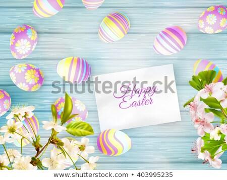 Paskalya kiraz eps 10 kart dekorasyon Stok fotoğraf © beholdereye