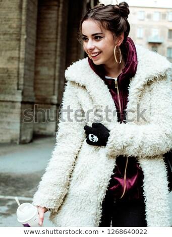 nő · sétál · olvad · hó · késő · tél - stock fotó © iordani