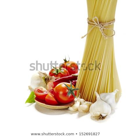свежие · спагетти · томатном · соусе · пармезан · изолированный · белый - Сток-фото © popaukropa