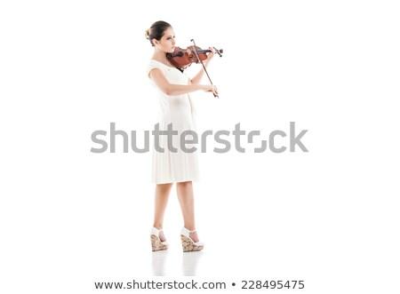 nő · játszik · hegedű · izolált · fehér · háttér - stock fotó © julenochek