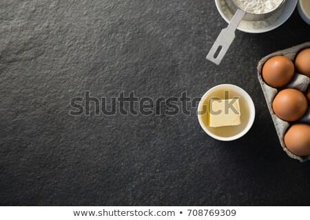 Közvetlenül fölött lövés tojás karton vaj Stock fotó © wavebreak_media