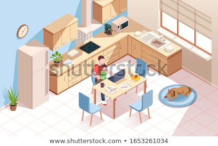 Father and baby working at table Stock photo © IS2