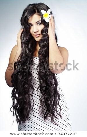 Gyönyörű nő extra hosszú haj szexi divat modell Stock fotó © konradbak