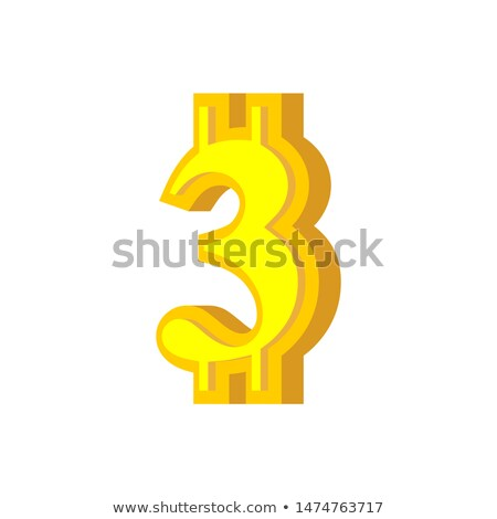 3 numeral bitcoin font. three numeric Crypto currency alphabet.  Stock photo © popaukropa