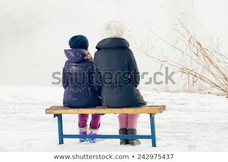 Nő ül hó nevet sport természet Stock fotó © IS2