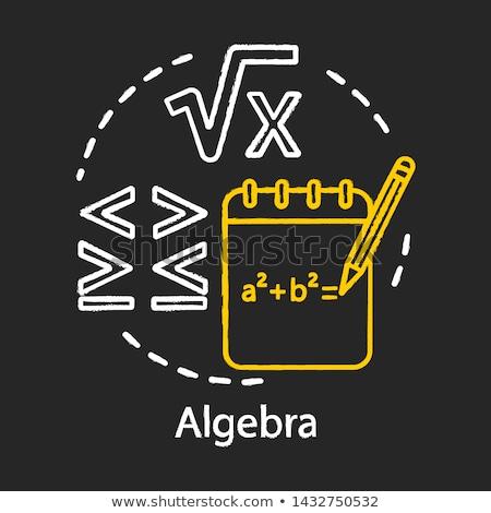 Foto d'archivio: Imparare · algebra · doodle · icone · lavagna · manoscritto