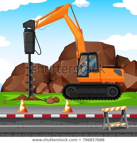 Man digging hole with drill at the construction site Stock photo © bluering