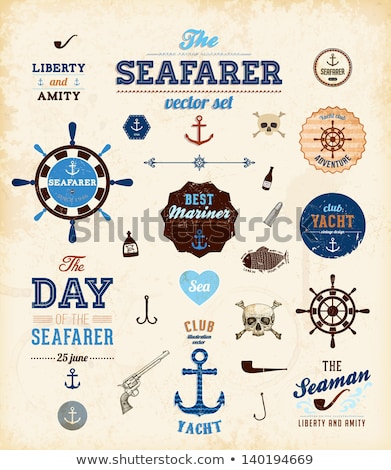 Rope and helm. Sea emblem. Vector illustration Stock photo © popaukropa