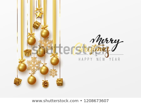 Vector Merry Christmas Holiday illustration with magic gift box and snowflakes on red background. Stock photo © articular