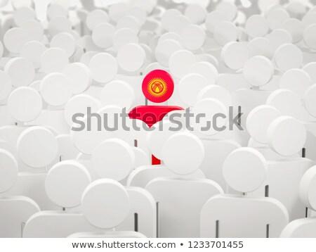 Man vlag Kirgizië menigte 3d illustration witte Stockfoto © MikhailMishchenko