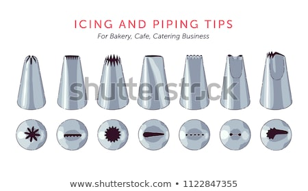 Seven metal piping nozzles for frosting Stock photo © sarahdoow