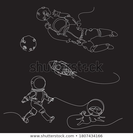 astronaut on a white background cosmic traveler vector illustr stock photo © popaukropa