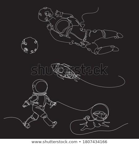 Astronot beyaz kozmik gezgin vektör adam Stok fotoğraf © popaukropa