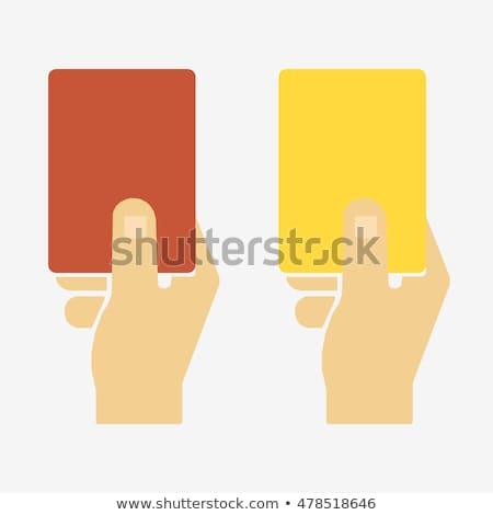 Stickers hands holds yellow red card Stock photo © alexanderandariadna