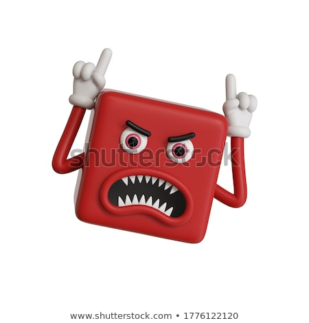 Agressief cartoon vierkante boos gezicht Stockfoto © hittoon