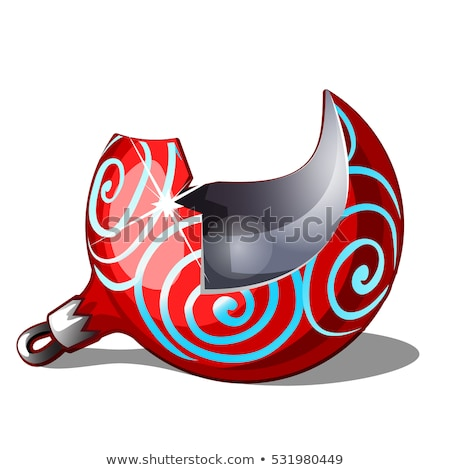 Damaged Christmas toy in the form of a broken red glass ball isolated on white background. Vector ca Stock photo © Lady-Luck