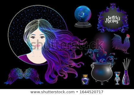 Jovem bruxa caldeirão veneno desenho animado estilo Foto stock © TasiPas