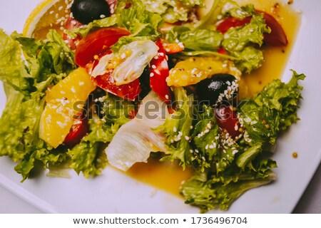 Olive skewer on the vintage plate Stock photo © Alex9500