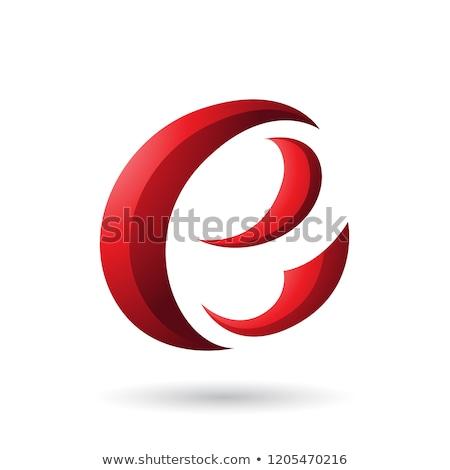 red crescent shape letter e vector illustration stock photo © cidepix