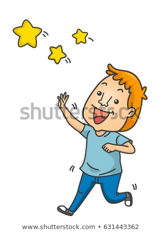 man idiom reach for the stars illustration stock photo © lenm