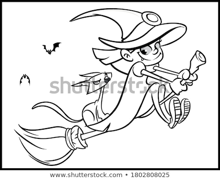 halloween illustration with cartoon characters coloring book stock photo © izakowski