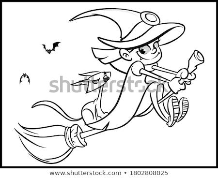 Halloween illustration with cartoon characters coloring book Stock photo © izakowski