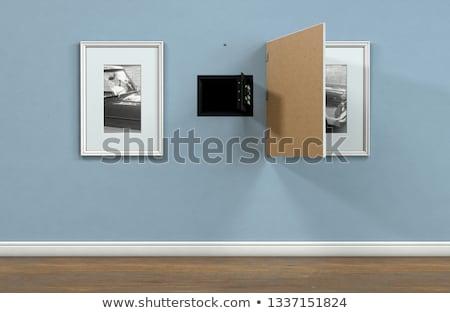Stock fotó: Nyitva · rejtett · fal · széf · mögött · kép