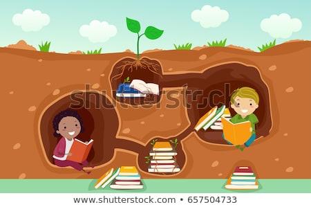 Ninos libros subterráneo ilustración lectura pared Foto stock © lenm