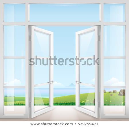 Szkła drzwi balkon piękna widoku dolinie Zdjęcia stock © iriana88w