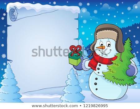 Noël bonhomme de neige parchemin papier arbre heureux Photo stock © clairev