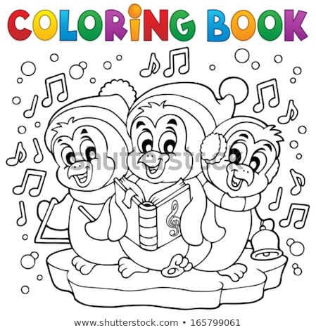 Coloring book penguins playing with snow Stock photo © clairev