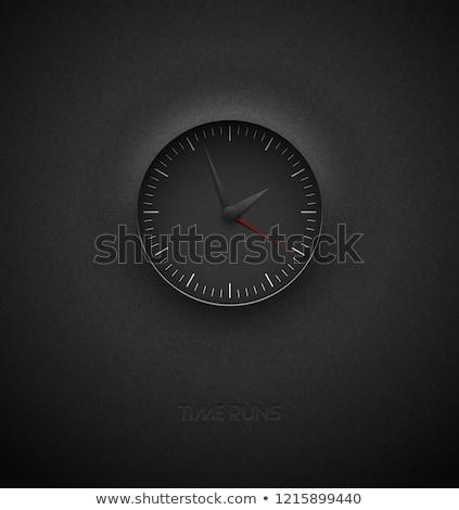 realistic deep black round clock cut out on textured plastic dark background white simple modern stock photo © iaroslava