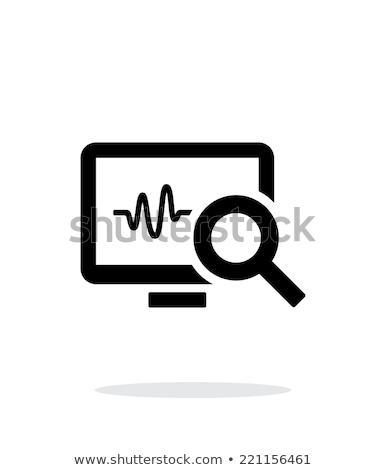 Frequenza cardiaca monitor icona bianco nero battito del cuore cardiogramma Foto d'archivio © Imaagio