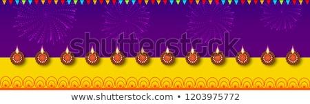 Feliz diwali festival luzes bandeira decorado Foto stock © robuart