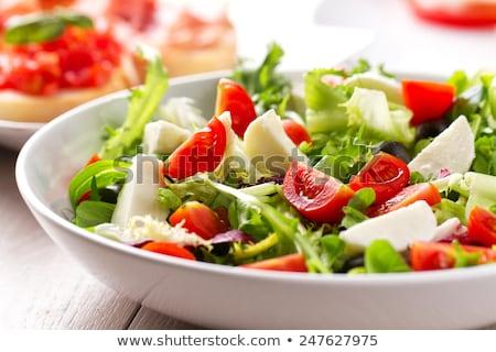 friss · koktélparadicsom · mozzarella · saláta · zöld · saláta - stock fotó © artsvitlyna