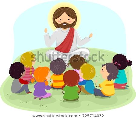 Ninos Jesús ilustración escuchar Cristo predicación Foto stock © lenm