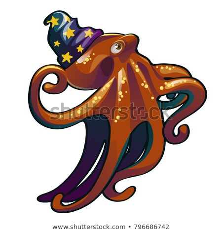 Brown octopus in the hat wizard. Inhabitants of the seas and oceans isolated on white background. Ve Stock photo © Lady-Luck